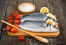 Raw sea bass on a wooden board. Raw sea bass on a wooden cutting board Royalty Free Stock Image