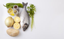 Raw sea bream fish with some ingredients. Isolated over white background royalty free stock photography