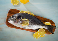 Raw sea bream with lemon on  a wooden cutting board. Top view Stock Images