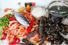 Raw sea food specialties Royalty Free Stock Photo