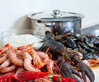 Raw sea foods in  kitchen Stock Photography