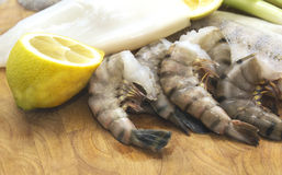 Raw seafood,cuttlefish, fish and scampi with lemon on board Royalty Free Stock Photo