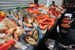 Raw seafood on ice. Raw seafood put on ice in the restaurant Stock Photos