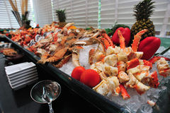 Raw seafood on ice Royalty Free Stock Images