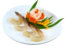 Raw Seafood. The Isolation raw seafood ingredient in the decorated container royalty free stock photography