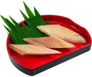 Raw Seafood. The Isolation raw seafood ingredient in the decorated container royalty free stock photo