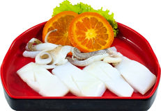 Raw Seafood. The Isolation raw seafood ingredient in the decorated container stock photo