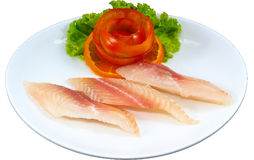 Raw Seafood. The Isolation raw seafood ingredient in the decorated container royalty free stock photos