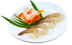 Raw Seafood. The Isolation raw seafood ingredient in the decorated container stock photography