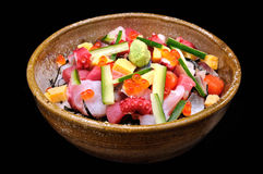 Raw seafood mix with zucchini Stock Images