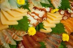 Raw Seafood Sashimi. A Variety of Fresh Raw Seafood Sashimi royalty free stock image