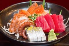 Raw seafood sashimi set. Sashimi is japanese food made from raw seafood Royalty Free Stock Photo