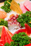 Raw seafood sashimi set. Sashimi is japanese food made from raw seafood Royalty Free Stock Images