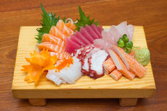 Raw seafood sashimi set. Sashimi is japanese food made from raw seafood Stock Image