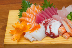 Raw seafood sashimi set. Sashimi is japanese food made from raw seafood Royalty Free Stock Photography