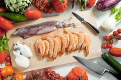 Raw seafood and vegetables Royalty Free Stock Images
