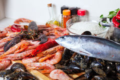 Raw seafoods and  seasonings Royalty Free Stock Photography