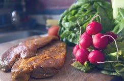 Raw seasoned pork meat on cutting board Royalty Free Stock Photo