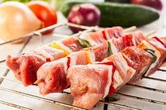 Raw Shashlik And Vegetables Stock Photography