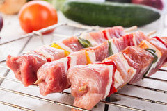 Raw Shashlik And Vegetables Royalty Free Stock Images