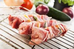 Raw shashlik on grill Stock Image