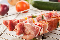 Raw shashlik and vegetables Stock Images