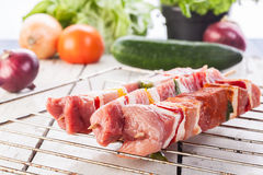 Raw shashlik and vegetables Stock Image