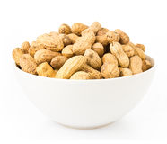 Raw shelled great peanuts in a bowl Royalty Free Stock Photography