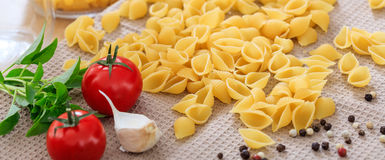 Raw shells pasta with vegetables. And olive oil Royalty Free Stock Photo
