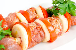 Raw shish kebab Stock Images