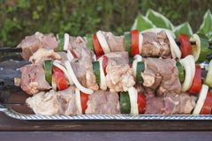 Raw shish kebab. Close up. Royalty Free Stock Photo
