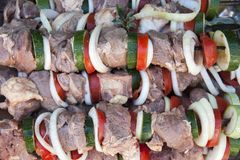 Raw shish kebab. Close up. Royalty Free Stock Photography