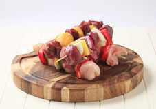 Raw shish kebabs Royalty Free Stock Photography