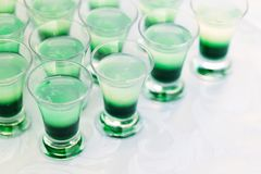 Raw of shot drinks Royalty Free Stock Photos