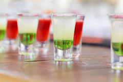 Raw of shot drinks Royalty Free Stock Images