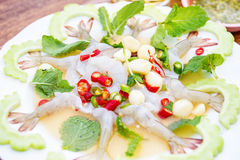 Raw shrimp in fish sauce,hot and spicy,seafood Stock Image