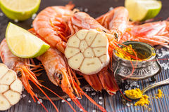 Raw shrimp, garlic, lime, curry and sea salt on a dark wooden background Stock Image
