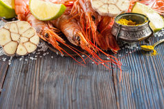 Raw shrimp, garlic, lime, curry and sea salt on a dark wooden background Stock Images