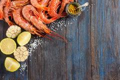 Raw shrimp, garlic, lime, curry and sea salt on a dark wooden background Stock Photography