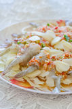 Raw shrimp in spicy fish sauce. Fresh raw shrimp in fish sauce with chili and garlic Stock Image