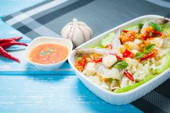 Raw shrimp and spicy sauce. Raw shrimp and spicy sauce, sea food  spicy salad shrimp in fish sauce Stock Photos
