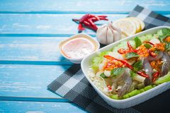 Raw shrimp and spicy sauce. Sea food  spicy salad shrimp in fish sauce Stock Image