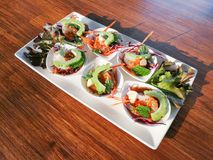 Raw shrimp and spicy sauce seafood. Thailand spicy salad shrimp in fish sauce Royalty Free Stock Image