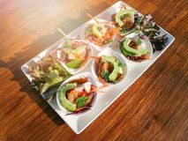 Raw shrimp and spicy sauce seafood. Thailand spicy salad shrimp in fish sauce Royalty Free Stock Photos