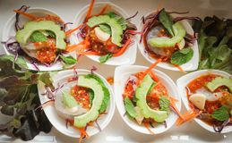 Raw shrimp and spicy sauce seafood. Thailand spicy salad shrimp in fish sauce Stock Photo
