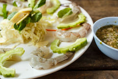 Raw shrimp and spicy sauce, seafood thailand. Royalty Free Stock Image