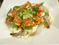 Raw shrimp and spicy sauce. Seafood thailand spicy salad shrimp in fish sauce Stock Images