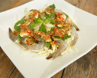 Raw shrimp and spicy sauce, seafood thailand. Spicy salad shrimp in fish sauce Stock Images