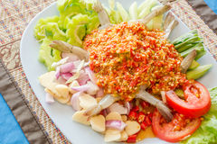 raw shrimp and spicy sauce. Stock Image