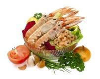 Raw shrimps. Raw mediterranean menu isolated on white background royalty free stock image